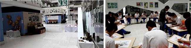 科技节艺术系学生作品展、室内设计专业手绘效果图一体化教学场景