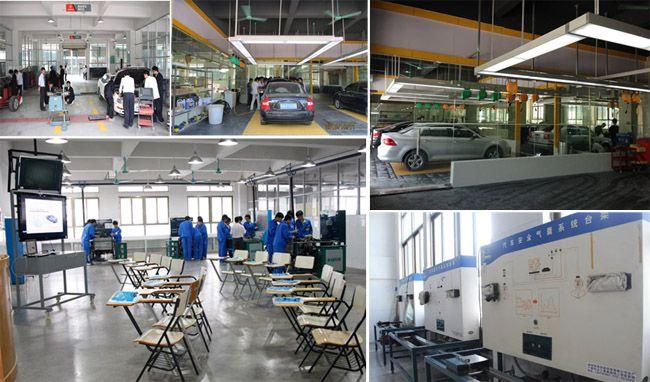 汽车检测维修实训大厅、汽车营销实训室、汽车整车检测室、 发动机电控系统学习现场、汽车安全气囊系统台架