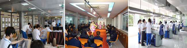 服装专业画室、服装研发中心展示厅、电脑毛织设计实习