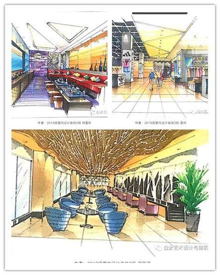 广州白云工商技师学院室内设计专业学生优秀手绘作业展