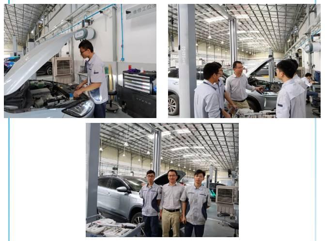 新能源汽车检测与维修专业学生在小鹏汽车实习