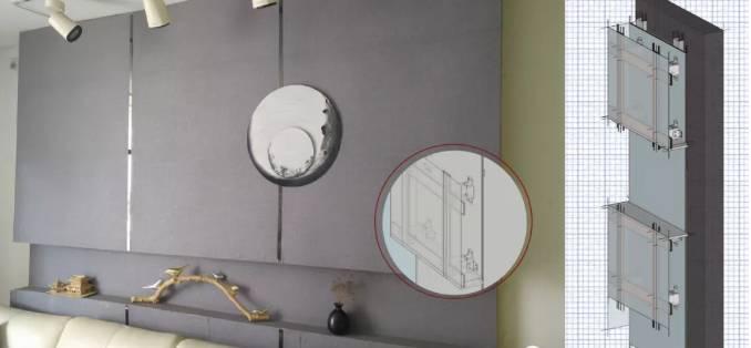 室内设计专业软装教室装饰 沙发背景墙结构图(右)