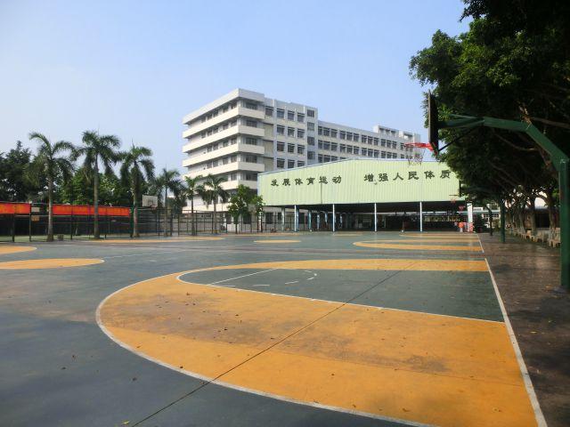 篮球场,对面是排球场和羽毛球场